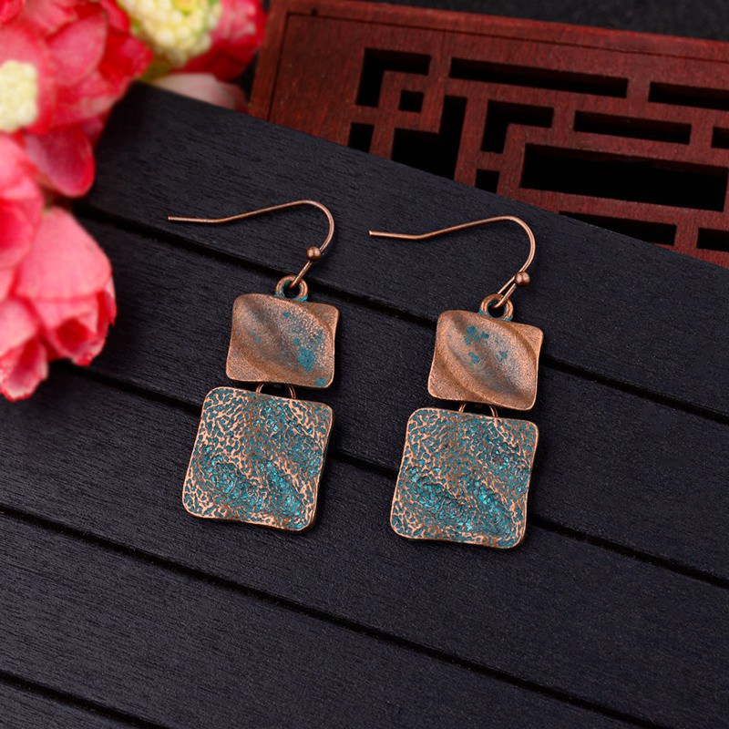 DOUVEI Two Square Alloy Stone Style Ethnic Earrings Top Quality Women Vintage Earrings Boho Bohemia Style Earrings HQE586