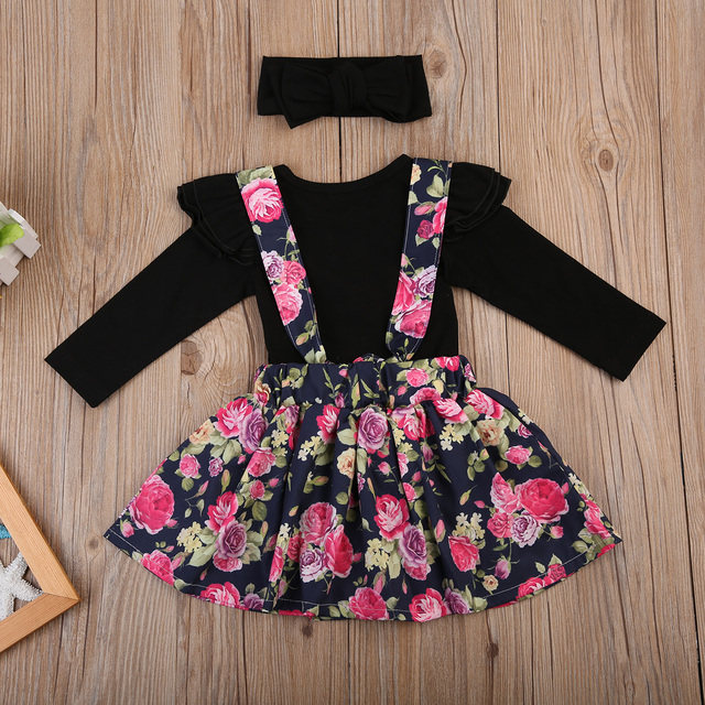 b70ad0f002a4 3PCS Girls Outfits Kids Baby Girls Black Ruffles Romper Jumpsuit Floral  Skirts Overalls Headband Outfit Set Clothes Summer