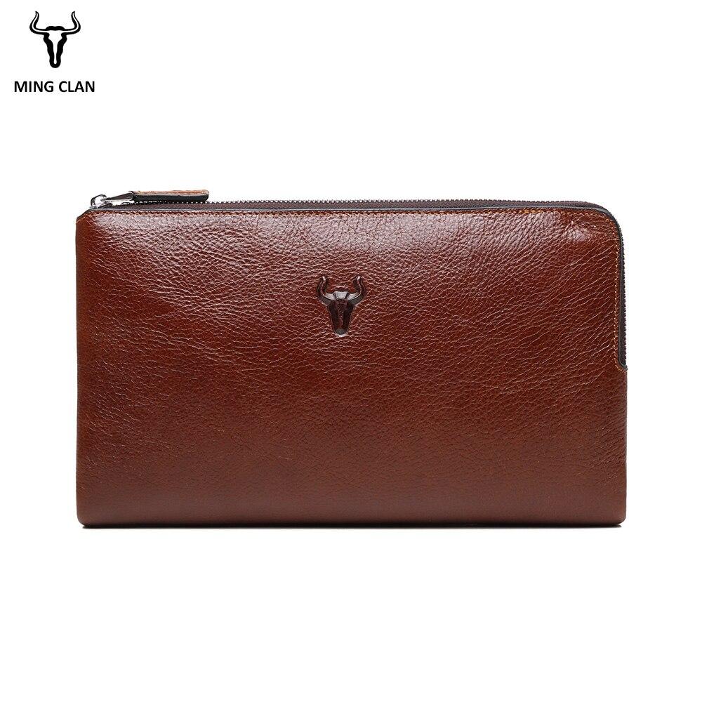 Mingclan Triple Zipper Clutch Bag Wallet Clutch Bag Men s Purses Genuine Leather Men Wallets Leather