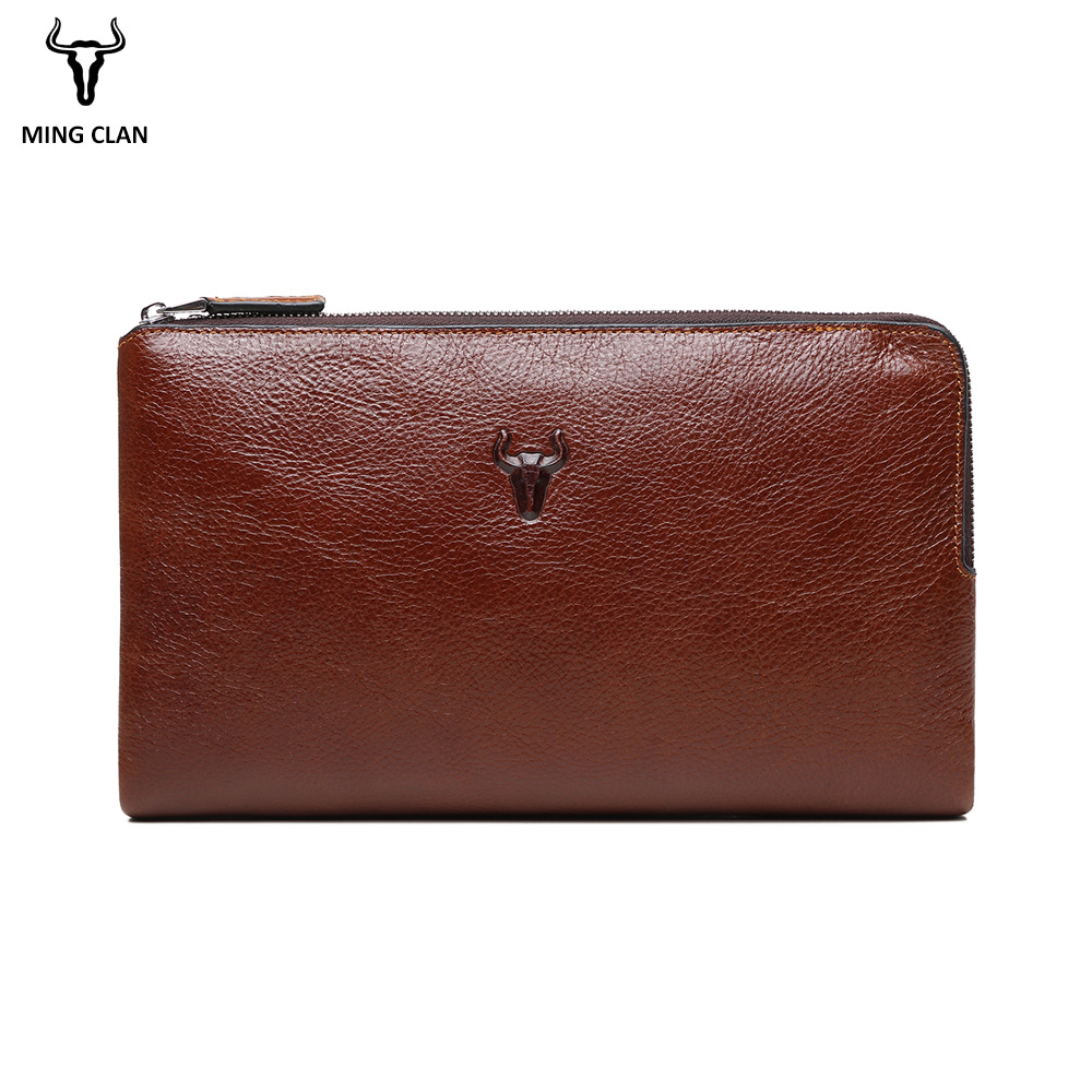 Mingclan Triple Zipper Clutch Bag Wallet Clutch Bag Men's Purses Genuine Leather Men Wallets Leather Man Wallet Long Male Purse men clutch bag italian vegetable tanned leather long wallet luxury phone wallets wristlet male purse man clutch hand bag purses