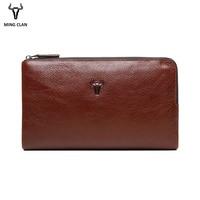 Mingclan Triple Zipper Clutch Bag Wallet Clutch Bag Men's Purses Genuine Leather Men Wallets Leather Man Wallet Long Male Purse