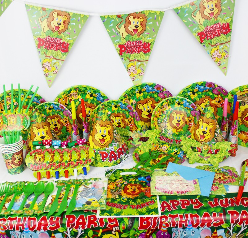 84pcs <font><b>Jungle</b></font> Party theme Baby <font><b>birthday</b></font> party set plate <font><b>cup</b></font>&napkin tablecloth favor gift for Kids Event Party Supplies