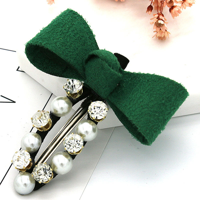 Sale 1PC Rhinestones Pearl Women Hair clip Girls Hairpin Bowknots Crystal Side Barrette Fashion Gifts Modeling tool in Styling Accessories from Beauty Health