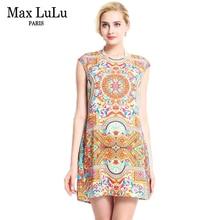 af681c36c7a77 ماكس اللولو الشهيرة ماركة فساتين 2017 الصيف المرأة عارضة أزياء قصيرة الأكمام  المطبوعة مصمم فستان المرأة الملابس حجم كبير 3xl