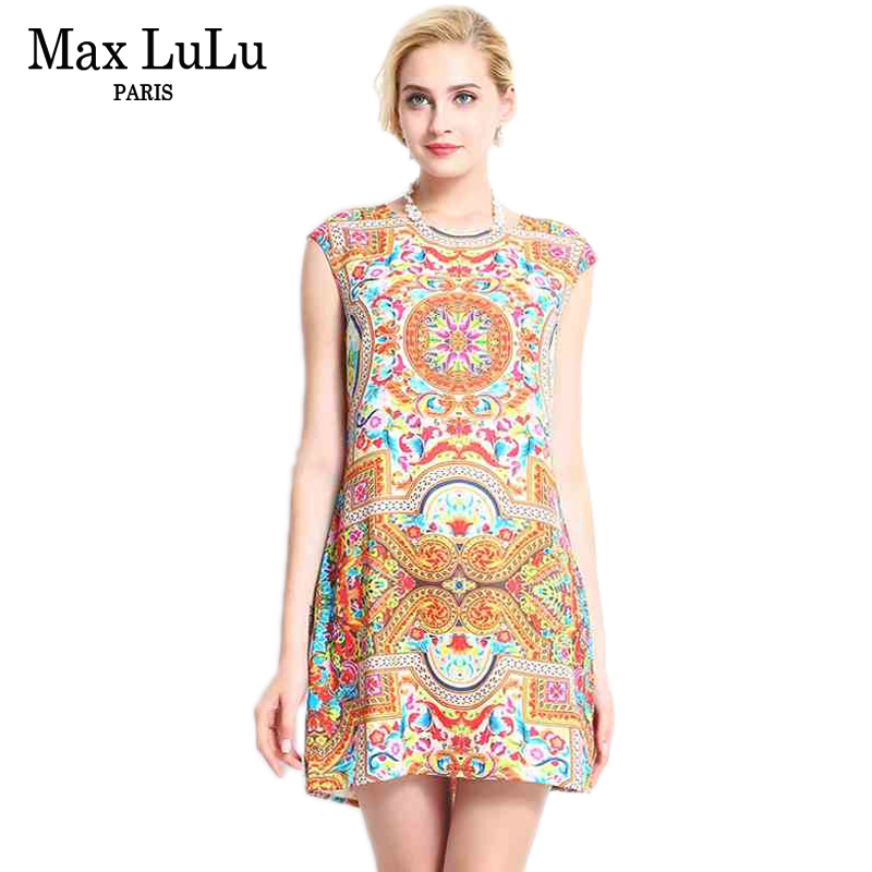 Max LuLu Famous Brand Women's Dresses 2017 Summer Casual Fashion Short Sleeve Printed Designer Dress Woman Clothing Big Size 3XL