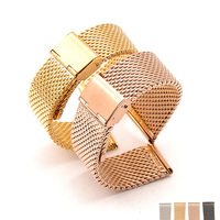 18mm 20mm 22mm 24mm Stainless Steel Watchbands Wrist Watch Mesh Replacement Milanese Band Metal Watch Bracelets Rose gold