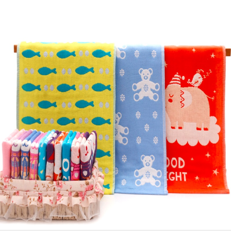 Children Baby Face Towel Cotton 3 Layers Gauze Baby Towel Cartoon Cute Soft Kids Hand Towel Handkerchief Baby Washcloth 25*50cm