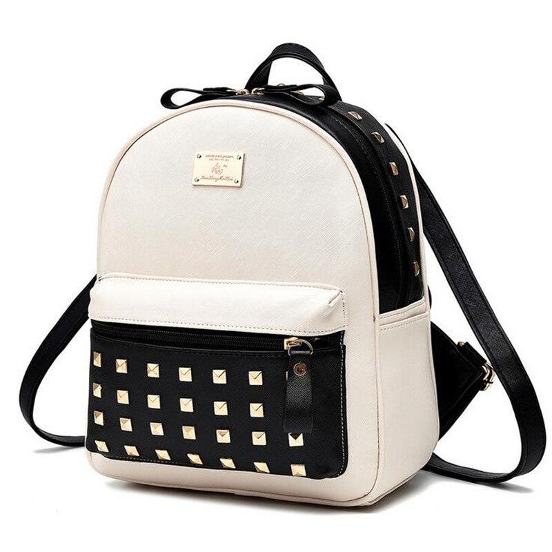 ФОТО New vintage casual style backpack rivet leather school bags high quality shoulder bag women backpacks travel bag