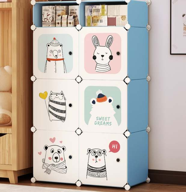 US $53.2 5% OFF|Cartoon PP Plastic Clothes Wardrobes Metal Kids Coat  cabinet organizer storage home Children Bedroom Wardrobe furniture B498-in  ...