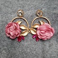 Peony Roses Earrings with Little Crystal Stud 2016 Hot Sale Earrings