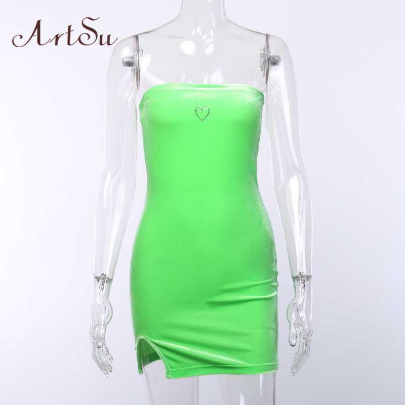 Арцу стразы сердце без бретелек мини облегающее платье для женщин с разрезом сбоку обтягивающее платье неоновый зеленый бархат клубные платья новинка ASDR60225
