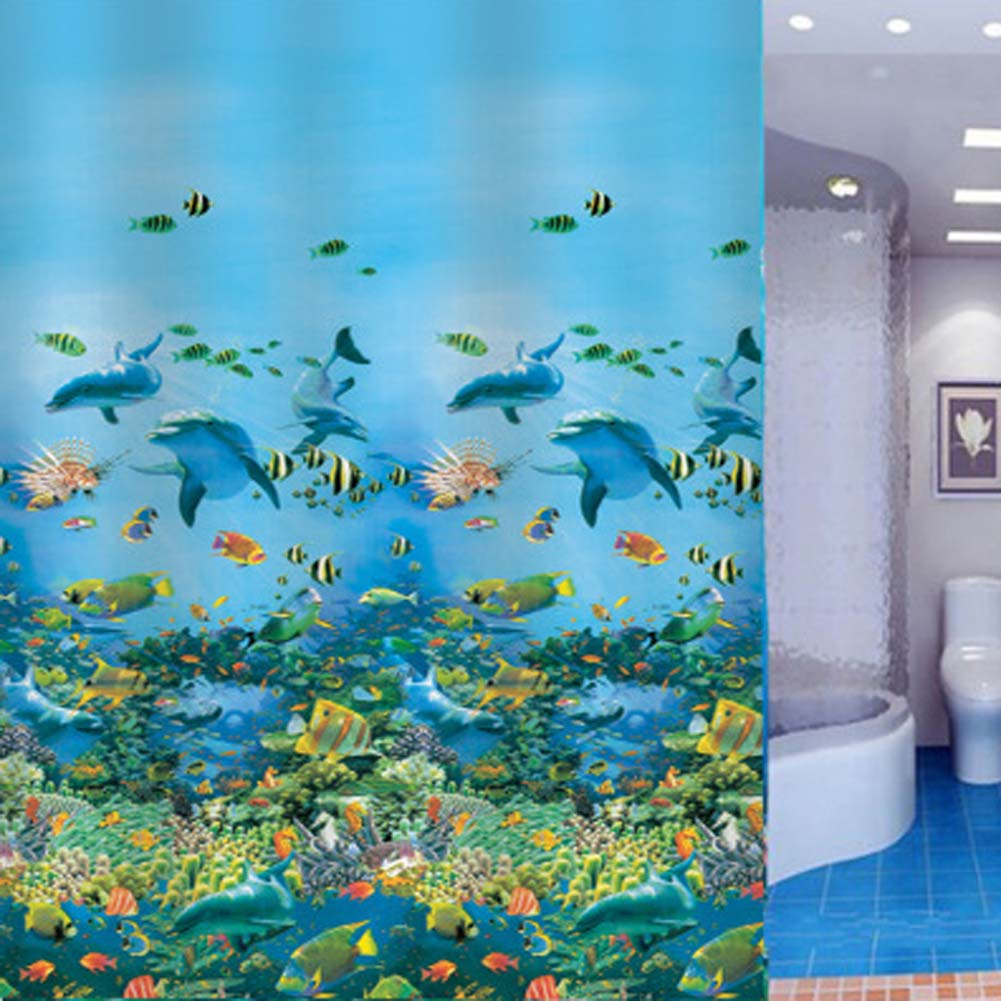 Light turquoise shower curtain - 2017 Hot Bathing Curtain Sea Life Waterproof Fabric Bathroom Shower Curtain Light Blue 1 8 X1 8m With 12pcs Curtain Hooks Rings