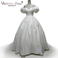 2017 Vestido De Novia Ballgown Wedding Dresses V Neck Print Satin Vintage Bridal Gowns Ivory Off