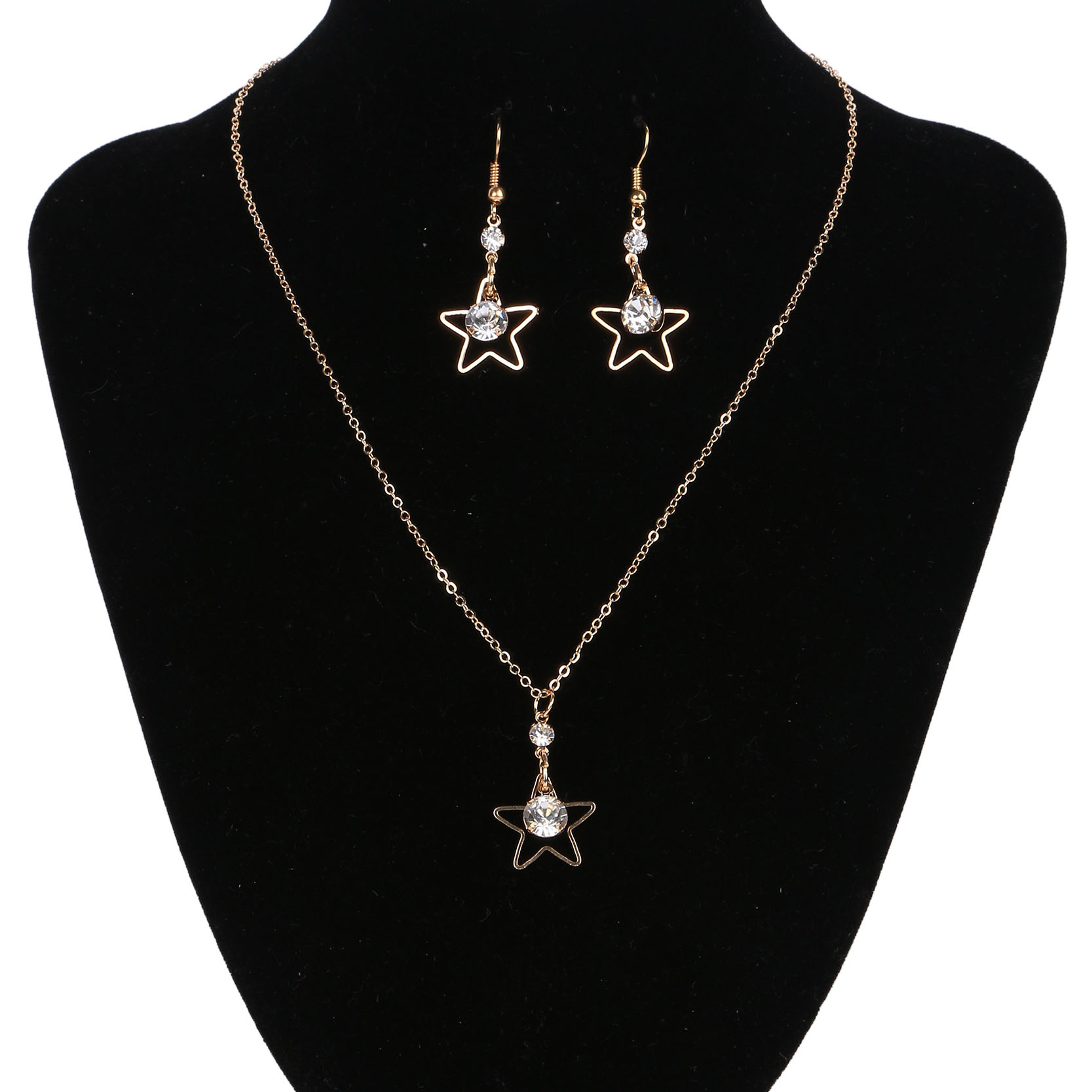 2017 New Arrival Hot Sale Wedding Jewelry Sets Rose Gold Star Statement Necklace Crystal Drop Earrings Fine Jewelry for Women