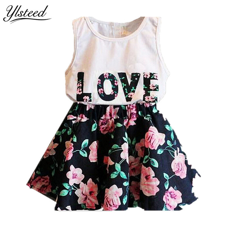 Summer cotton flower girl dresses vestido infantil letter print kids dresses for girls vestido menina children dress girl dress 2 7y baby girl clothes summer cotton flower tutu princess kids dresses for girls vestido infantil kid clothes