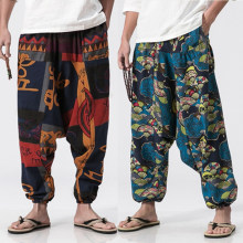 6d230acdcb3 Men Cotton Linen Harem Pants Vintage Hip Hop Baggy Wide Leg Pants  Streetwear Plus Size Printed Boho Trousers Male Cross Pants