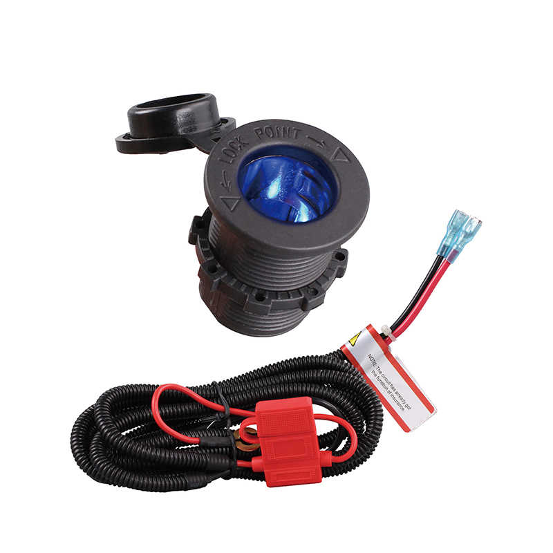 SeaForce With Blue LED 12V Car Cigarette Lighter  Socket With High Quality Wiring Harness Heat Resistance Plastic Car Accessory