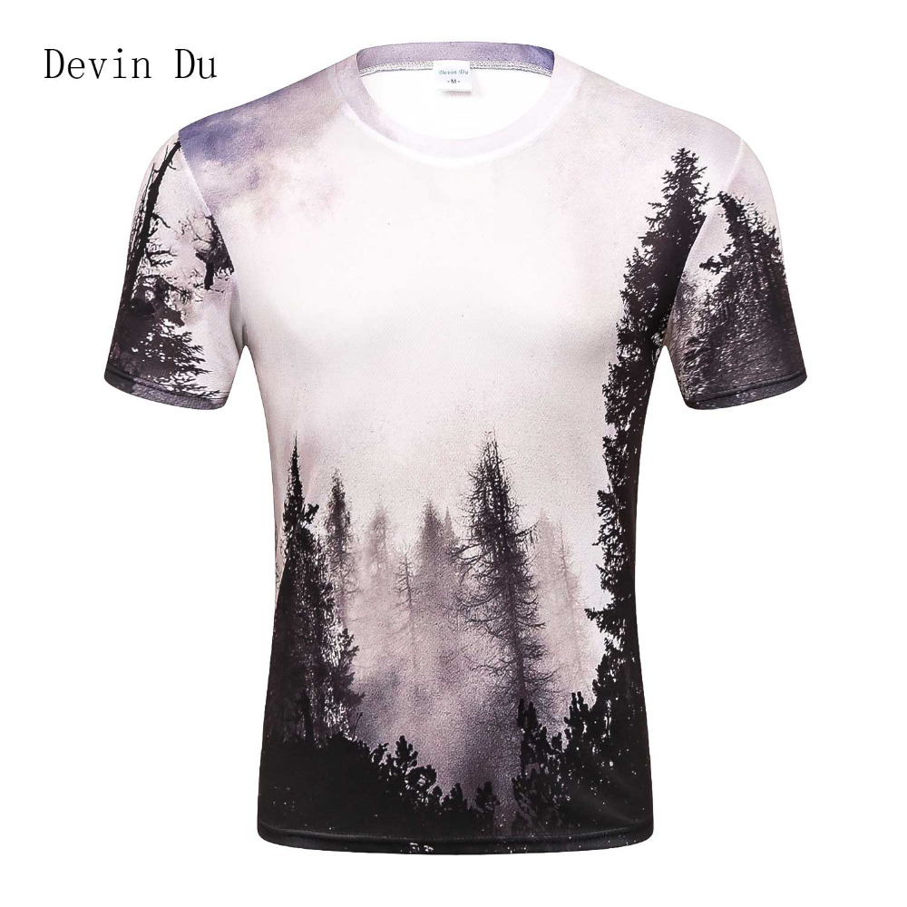 2017 New Arrivals Mens 3d T-shirt Print Winter Forest Trees Quick Dry Summer Tops Tees Brand Tshirts Plus Size