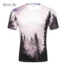 9c5184b52f6da Новинка 2017 года поступления мужские 3d футболка принт Зимний лес деревья  быстросохнущая летние футболки брендовые футболки