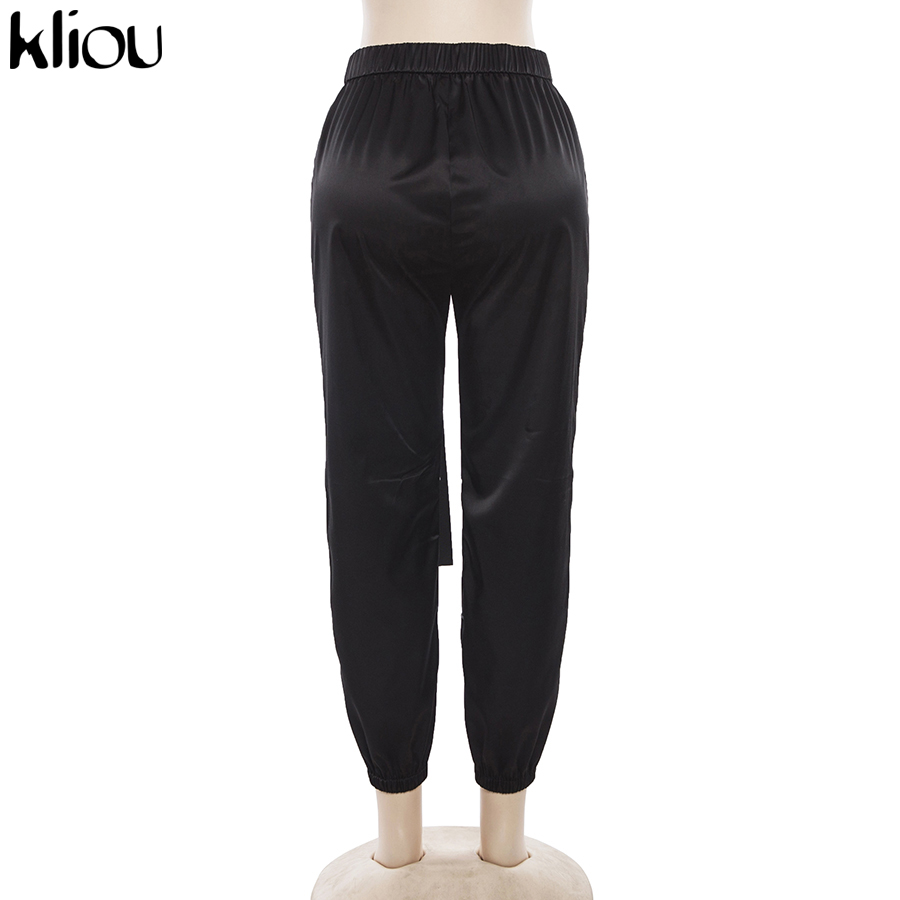 HTB1hAISaizxK1Rjy1zkq6yHrVXaG - Kliou women fashion street Reflective patchwork cargo pants 2019 new arrival zipper fly with sashes pockets knitted trousers