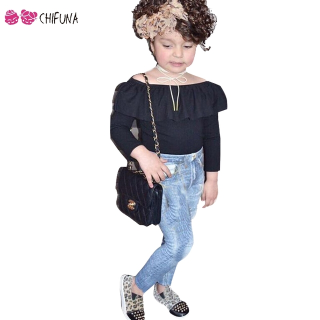 c579d5bf1afd0e chifuna 2018 Girls 2pc Set Long Sleeve Cold Shoulder Black Shirt + Long  Jeans Toddler Children Set Kids Fashion Suit For Girls