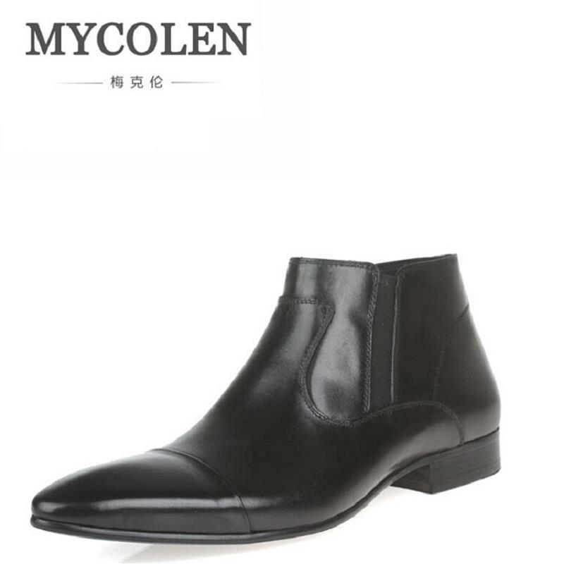 MYCOLEN Luxury Brand Ankle Boots Men Retro Zipper Chelsea Boots Mens Genuine Leather Boots Botas Hombre Men Fomal Dress Shoes
