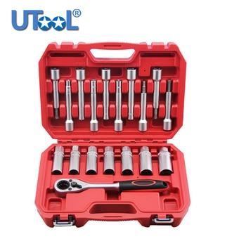 18 pcs Steering Hub Suspension Shock Absorber Strut Nut Removal Tool Socket Kit Ratchet Sockets Set