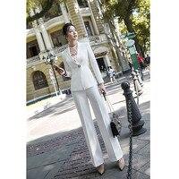 Новинка; комплект из двух предметов; женские брюки; костюм; размеры S 4, XL; белая куртка; блейзер с брюками; Офисная Женская обувь; повседневные
