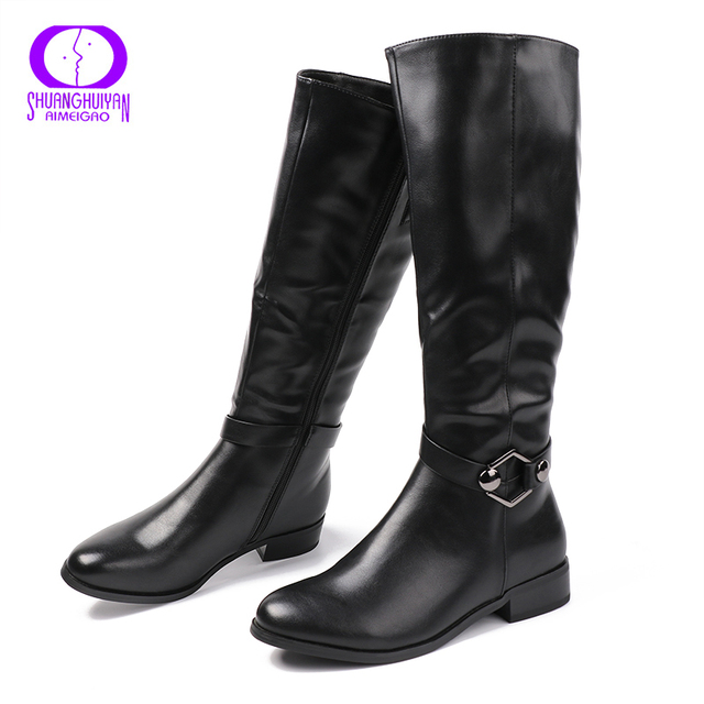 AIMEIGAO High Quality Knee High Boots Women Soft Leather Knee Winter Boots Comfortable Warm Fur Women Long Boots Shoes 2