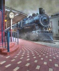 Image 3 - Allenjoy darmowa wysyłka tła dla fotografii studio stary pociąg stacja miasto dym tło profesjonalny photocall