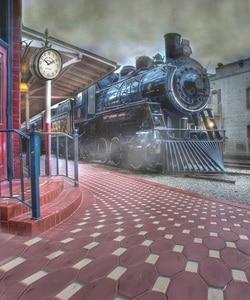 Image 3 - Allenjoy Бесплатная доставка фоны для фотостудии винтажный поезд станция дым фон Профессиональный фотосессия