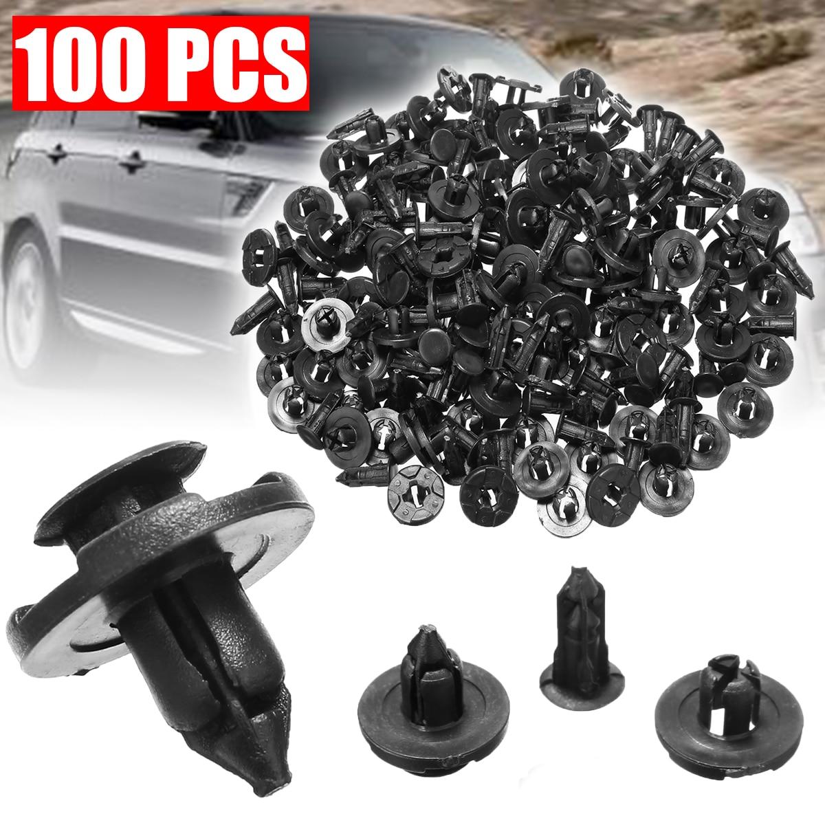 Внутренние зажимы 100 шт 10 мм авто пистон бампер толчок клип черный пластиковый крепеж бампер штырь заклёпки для Honda автомобиля-in Клипсы и зажимы для авто from Автомобили и мотоциклы
