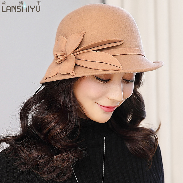 Women Fascinators Pillbox Wool Hat Gray Winter Vintage Felt Festival Party  Wedding Ladies Women Fedoras with Fascinating Floral a653f3ba608