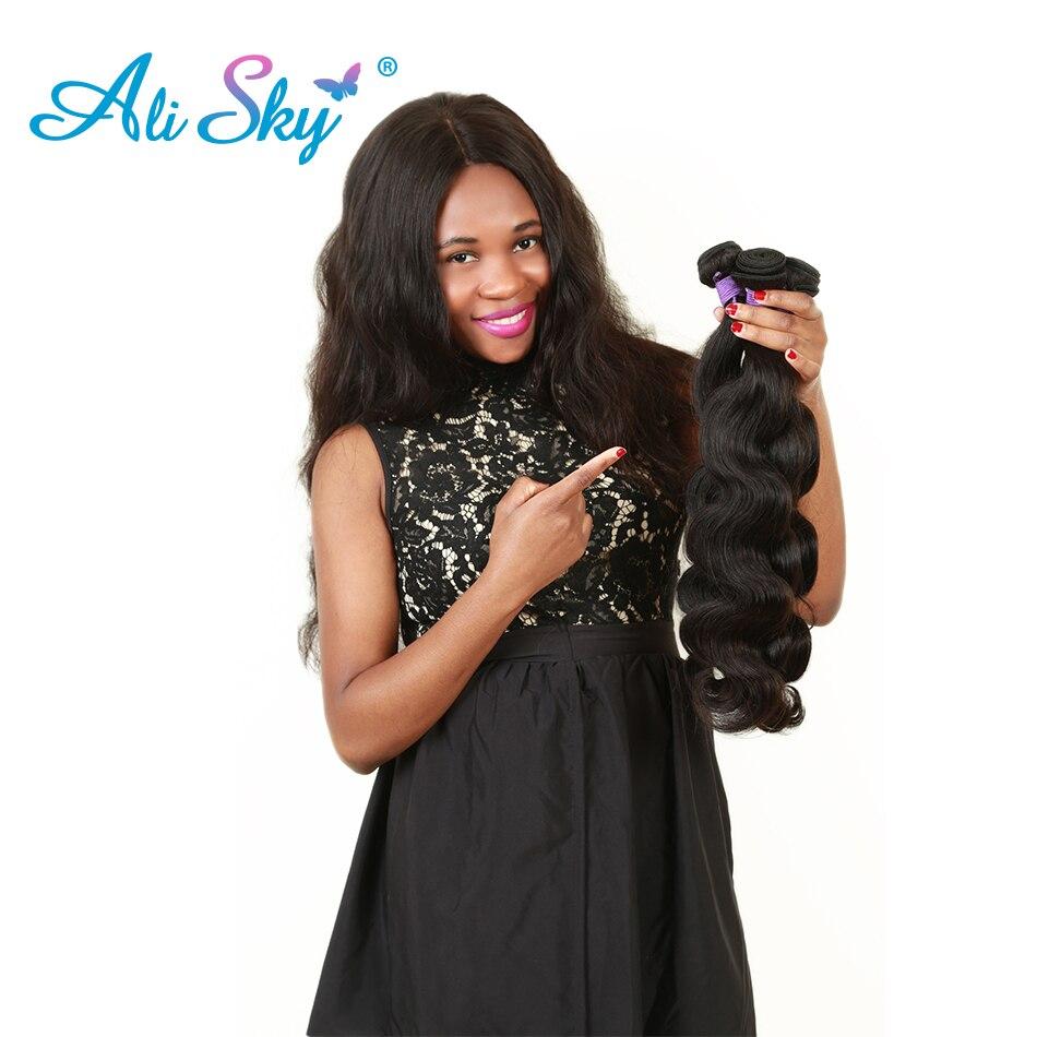 [Ali Sky] Brasilianske Body Wave Remy Hair Bundles 100% Menneskehår Vævning Dobbelt Weft Natural Black Color Gratis forsendelse
