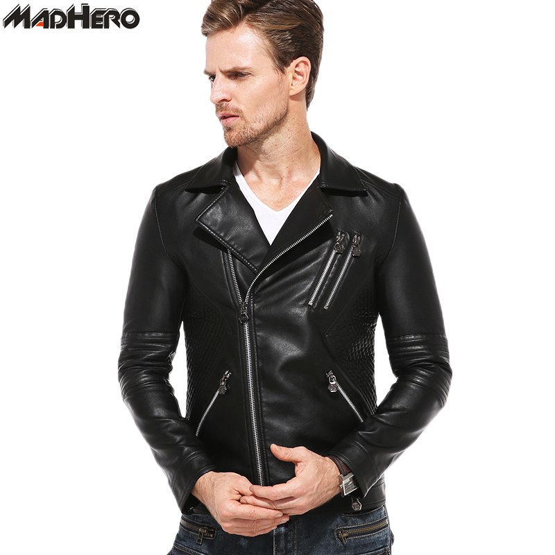MADHERO Brand Mens PU Leather Jacket Zipper Pockets Solid Turn-down Collar Motorcycle Coats Cool Male Biker Jackets Slim Fit