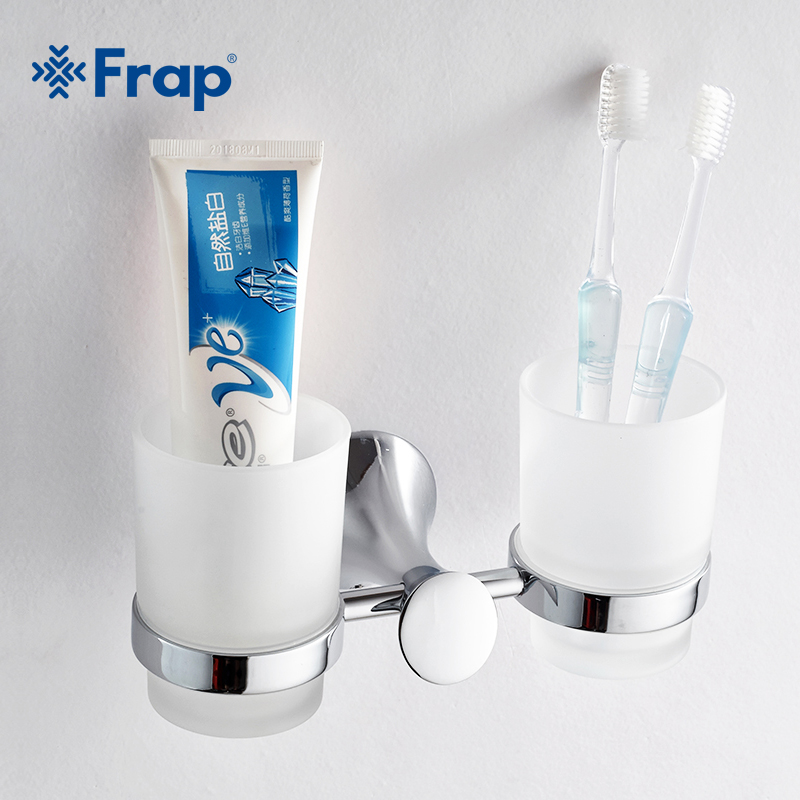 Frap zinc alloy chrome cup holder glass cups bathroom for Bathroom accessories electric toothbrush holder