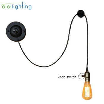 Art design black L150cm adjustable wall lamps Retro DIY decor bedside bedroom brass wall Lights knob switch stairs wall sconces industries aisle american retro style wall lamp bedside bedroom balcony stairs american iron wall lights sconces serge blanco
