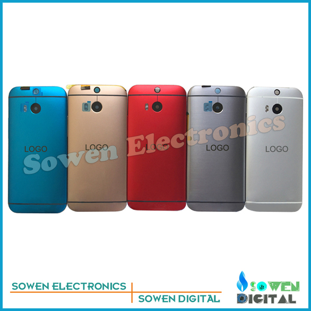 for HTC One M8 back cover battery door panel Front frame bezel assembly full housing sets,black Silvery Red Golden Blue