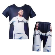 New baby boys t shirt set Real Football star t-shirt 3D Madrid C Ronaldo pajamasks cartoon for Kids short pant clothing 5-14Y