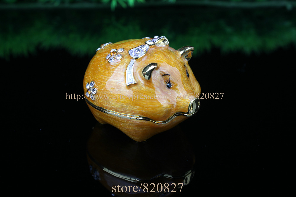 Enamel Pig Figurine with Element Crystals Trinket Pill Jewelry Box Pig with Crystals Jewelry Trinket Box Figurine цена