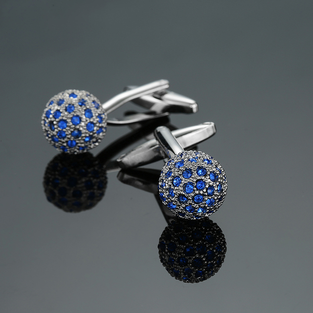 Novelty Luxury Blue white Cufflinks for Mens  Brand High Quality crown Crystal gold silver Cufflinks Shirt Cuff Links 2