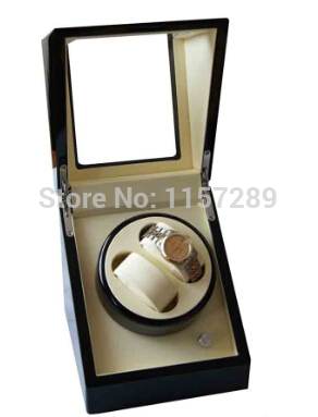 2014 Latest Wholesale 2 watches Auto Wooden Watch Winder Black  Case Cream Velvet Interior Lock ultra luxury 2 3 5 modes german motor watch winder white color wooden black pu leater inside automatic watch winder