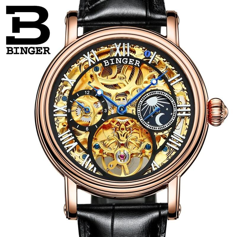 Switzerland BINGER men's watch luxury brand Tourbillon Relogio Masculino water resistant Mechanical Wristwatches B-1171 binger 100