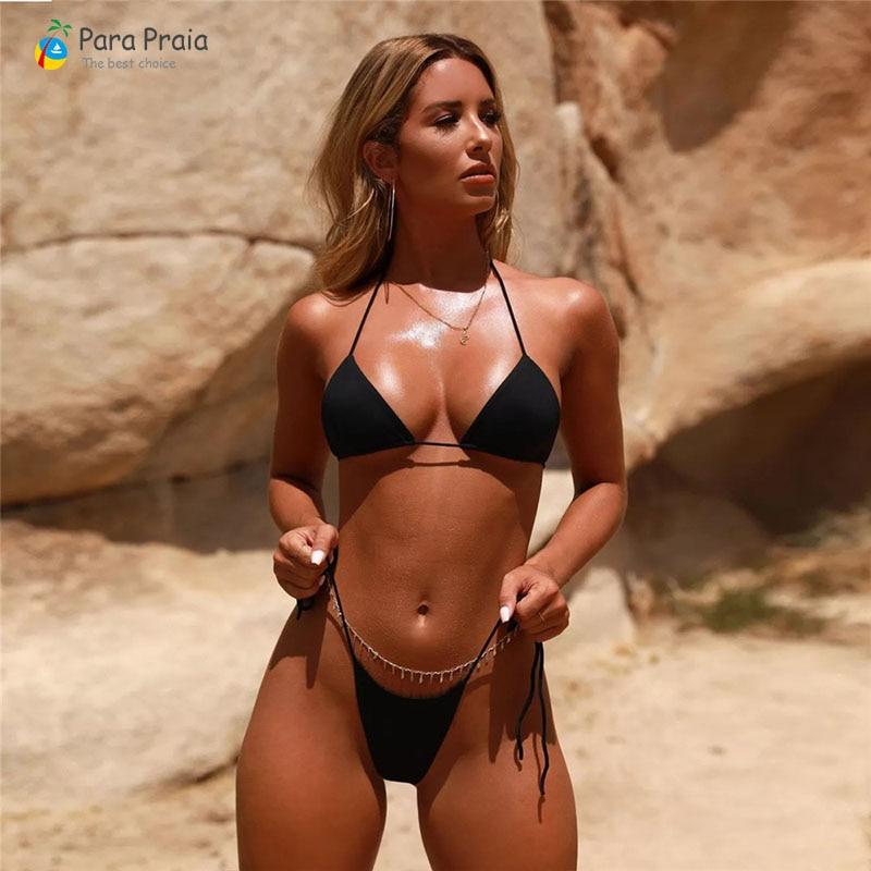 2019 Halter Bikini Sets Brazilian Swimwear Women Swimming Suit Sexy Micro Bikini Mini Bathing Suit Solid Beachwear Adjustable