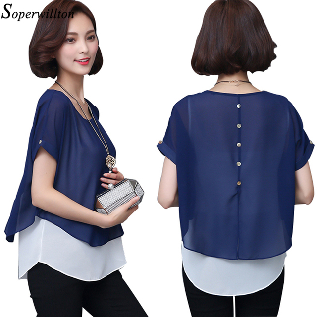 f7c053f8861 2018 New Summer Blouses Women Elegant Shirts Short Sleeve Fake Two Pieces  O-Neck Chiffon Blouse Casual Ladies Shirt Tops Blusas