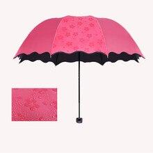 Neue Dame Prinzessin Magie Blumen Dome Sonnenschirm/Regen Taschenschirm prain frauen transparente dach parapluie schlagring