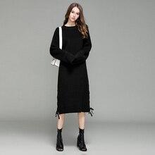 Зима новый толще платье женщины плюс размер трикотажные Bodycon Сексуальная миди платье с длинным рукавом Элегантный Теплый тонкий свитер платье Vestidoes
