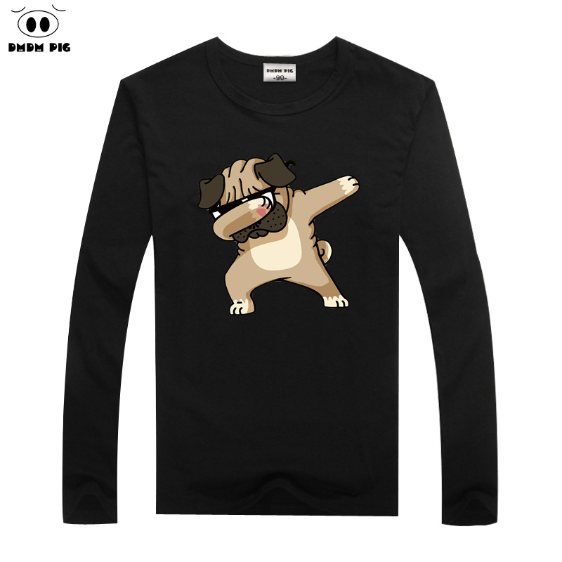 Dmdm Pig Children Winter T Shirt Dabbing Funny Cartoon Long Sleeve T-shirts For Boys Girls Tops Kids Tshirts 2 3 4 5 6 7 8 Years