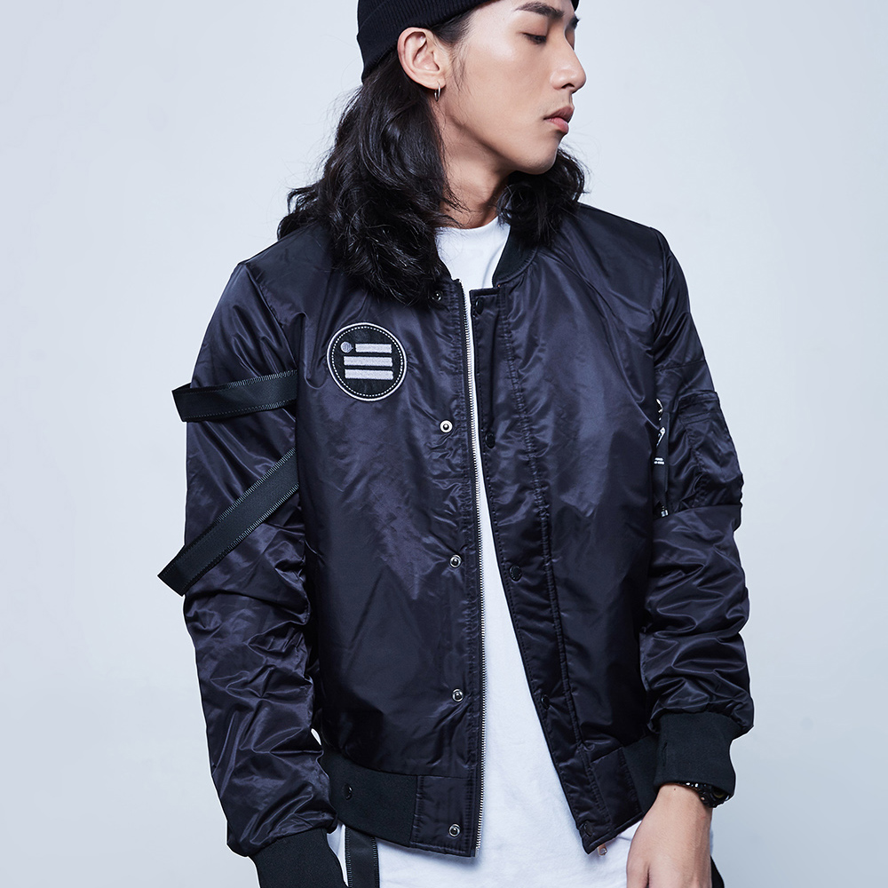 Black Strap MA 1 Bomber Jackets Men Streetwear Detachable Ribbons Baseball Jacket Cotton padded Mens Punk Jackets and Coats in Jackets from Men 39 s Clothing