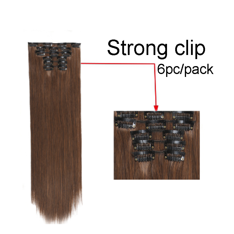 Imstyle 6Pcs/set 14 Colors Available Clip In Hair Extension Synthetic Straight Fake False Hair For Women 24 inch Heat Resistant